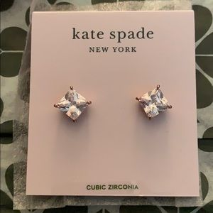 kate spade Jewelry - Kate Spade Save The Date Princess Cut Studs.